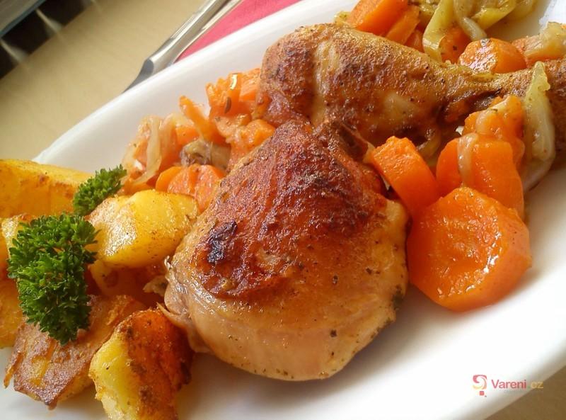 Recept na pečené kuře se zeleninou krok za krokem
