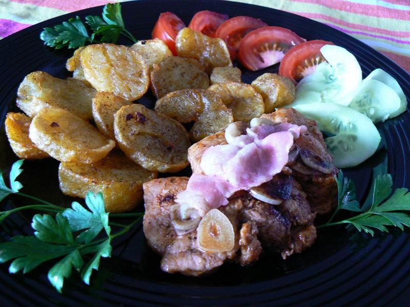 Česnekový vepřový steak