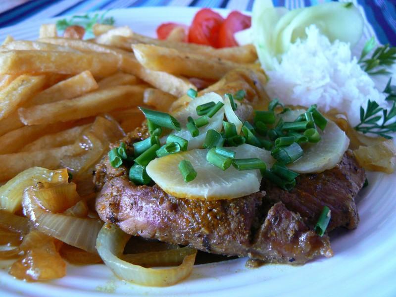 Steak s bílou ředkví