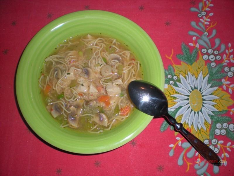 Čínská kuřecí polévka se zeleninou a nudlemi