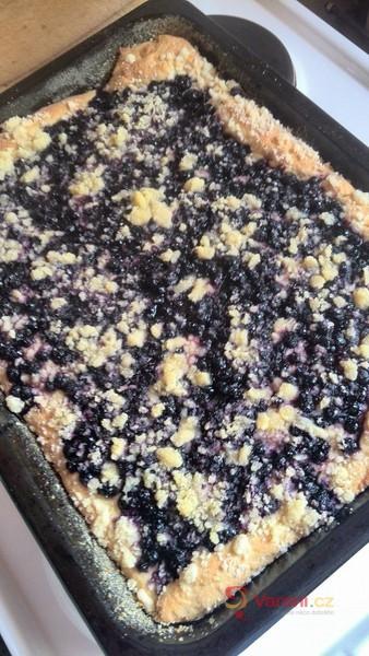 Kynutý borůvkový koláč s drobenkou