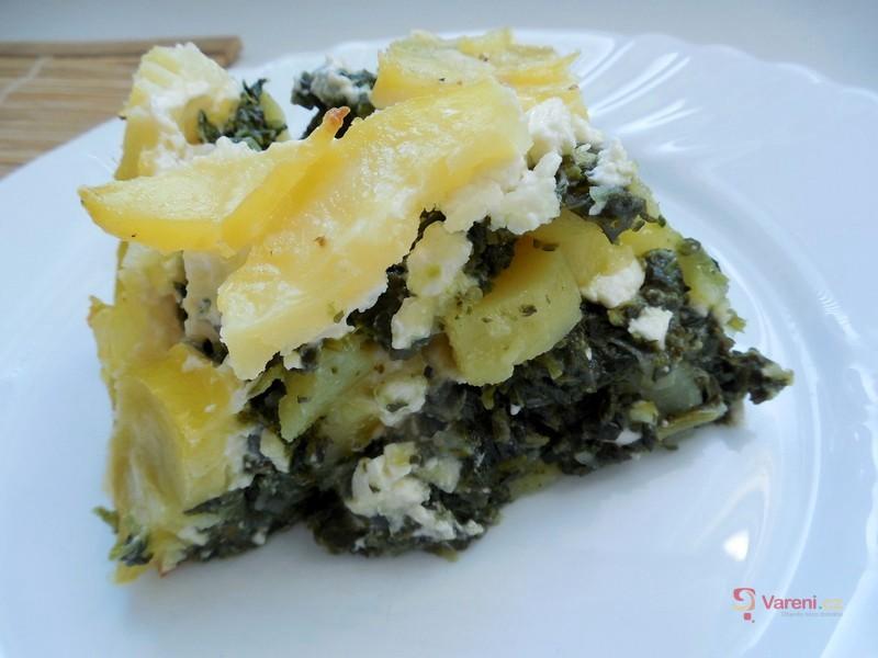Zapékané brambory se špenátem a balkánským sýrem