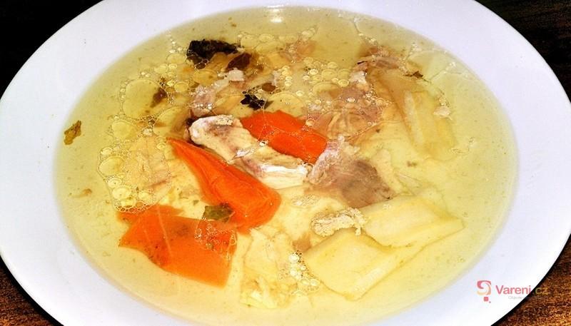 Slepičí polévka z domácí slepice