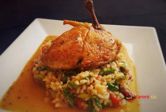 Cikánské pečené kuřátko s kachním rizotem