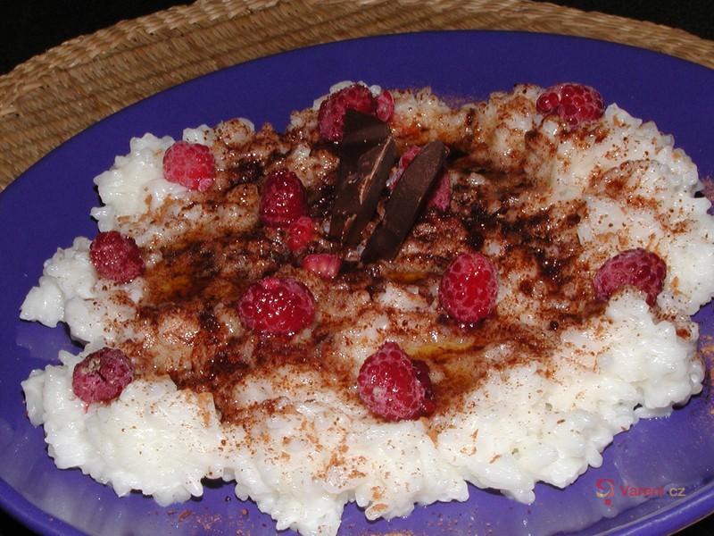 Rýžová kaše s malinami