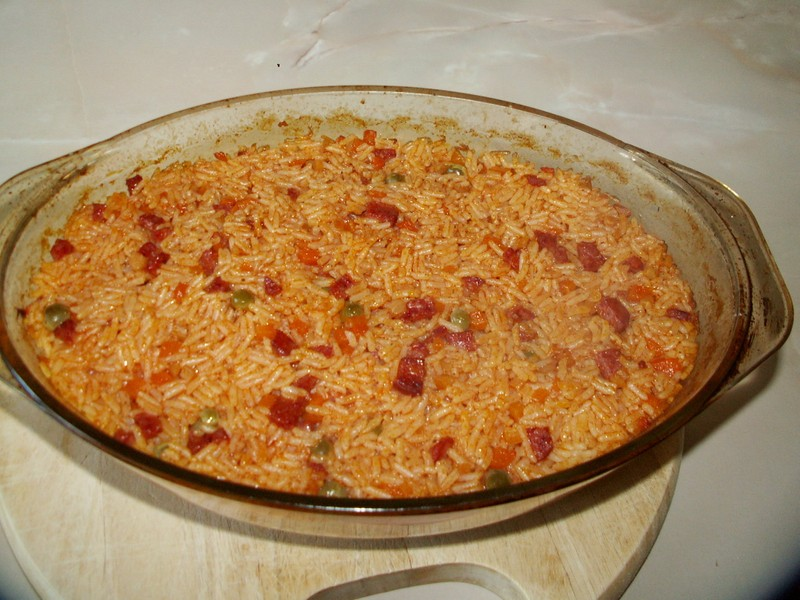 Vepřové rizoto s hráškem a kukuřicí