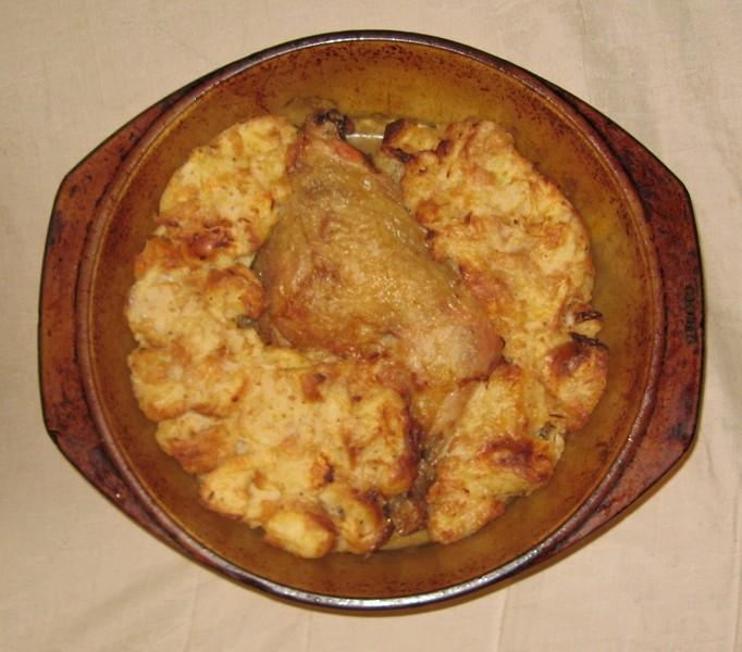 Pečené kuře s nádivkou se zelím