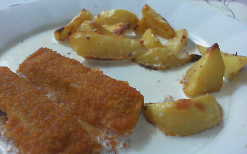 Pečené rybí prsty se smetanou