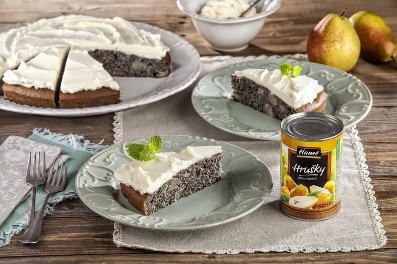 Hruškový koláč s mákem a krémem z mascarpone