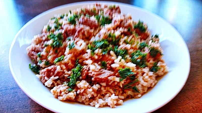 Vepřové plecko míchané s rýží