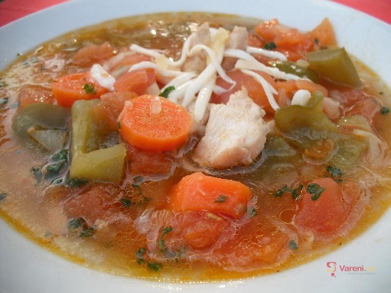 Zeleninová polévka s kuřecím masem