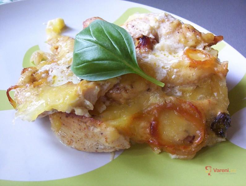 Zapékané kuřecí s brambory a bazalkou