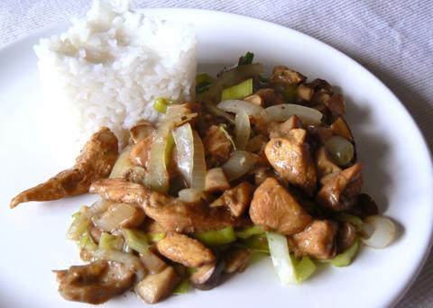 Recept na kuřecí kousky na houbách krok za krokem