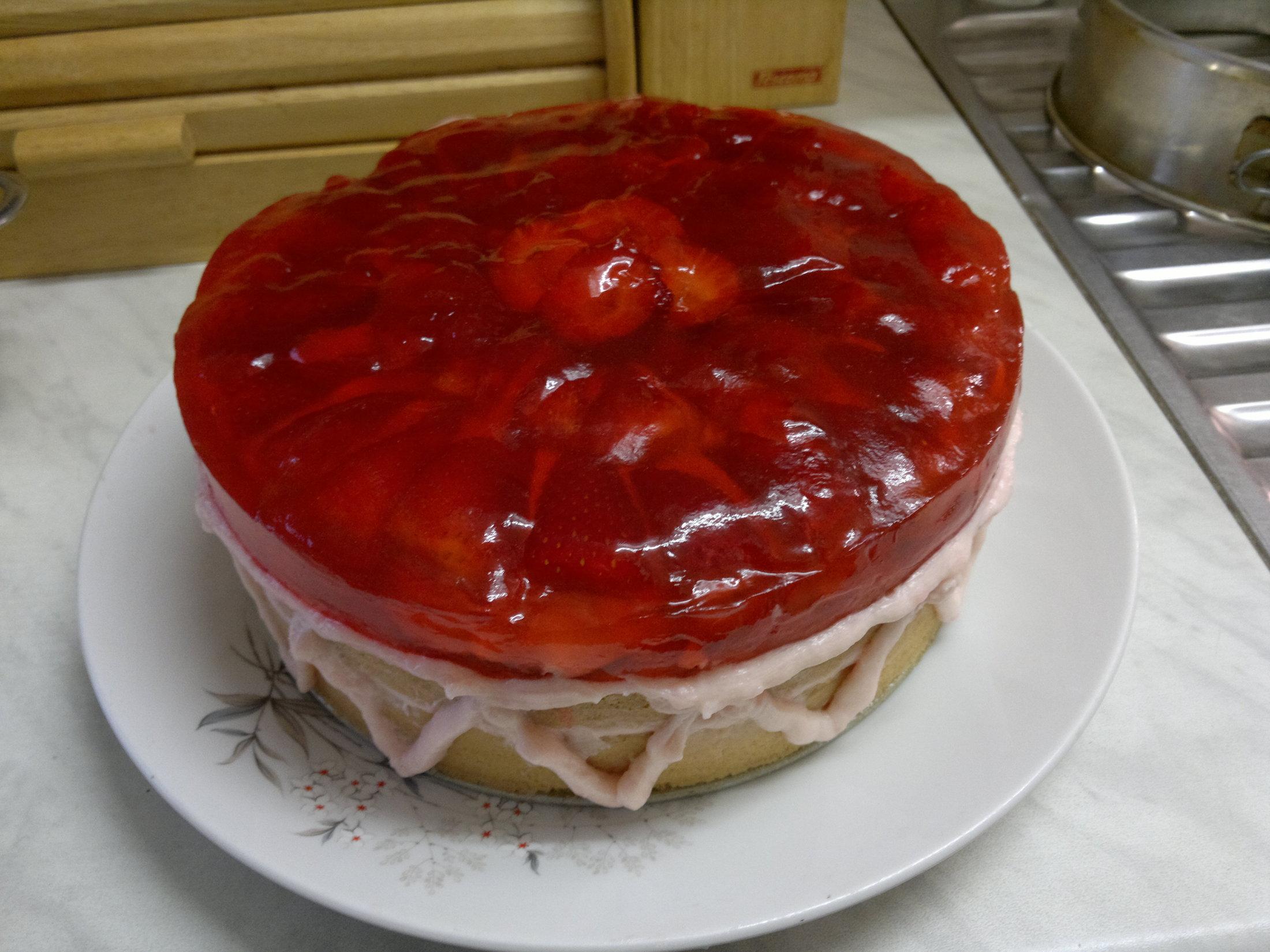 Jahodový dort s krémem