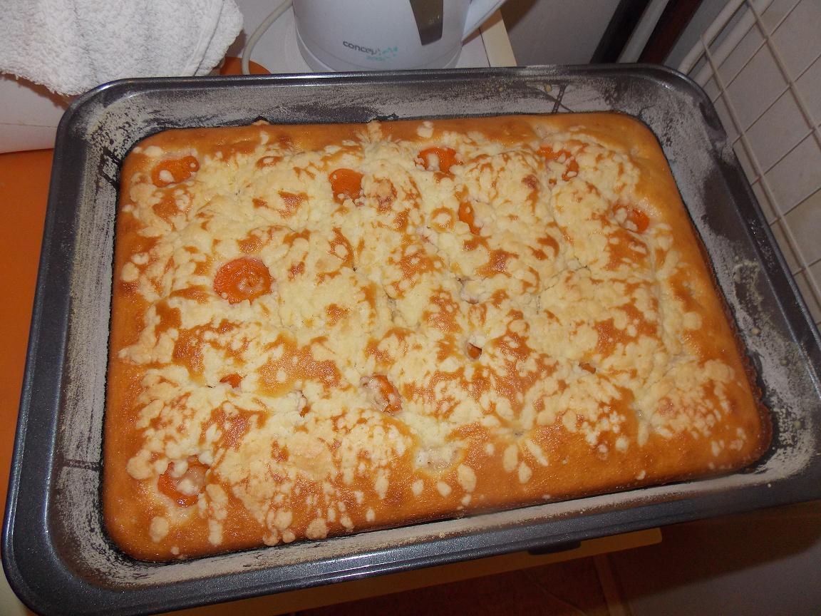 Recept Hrnková bublanina - Bublanina s meruňkami a drobenkou.