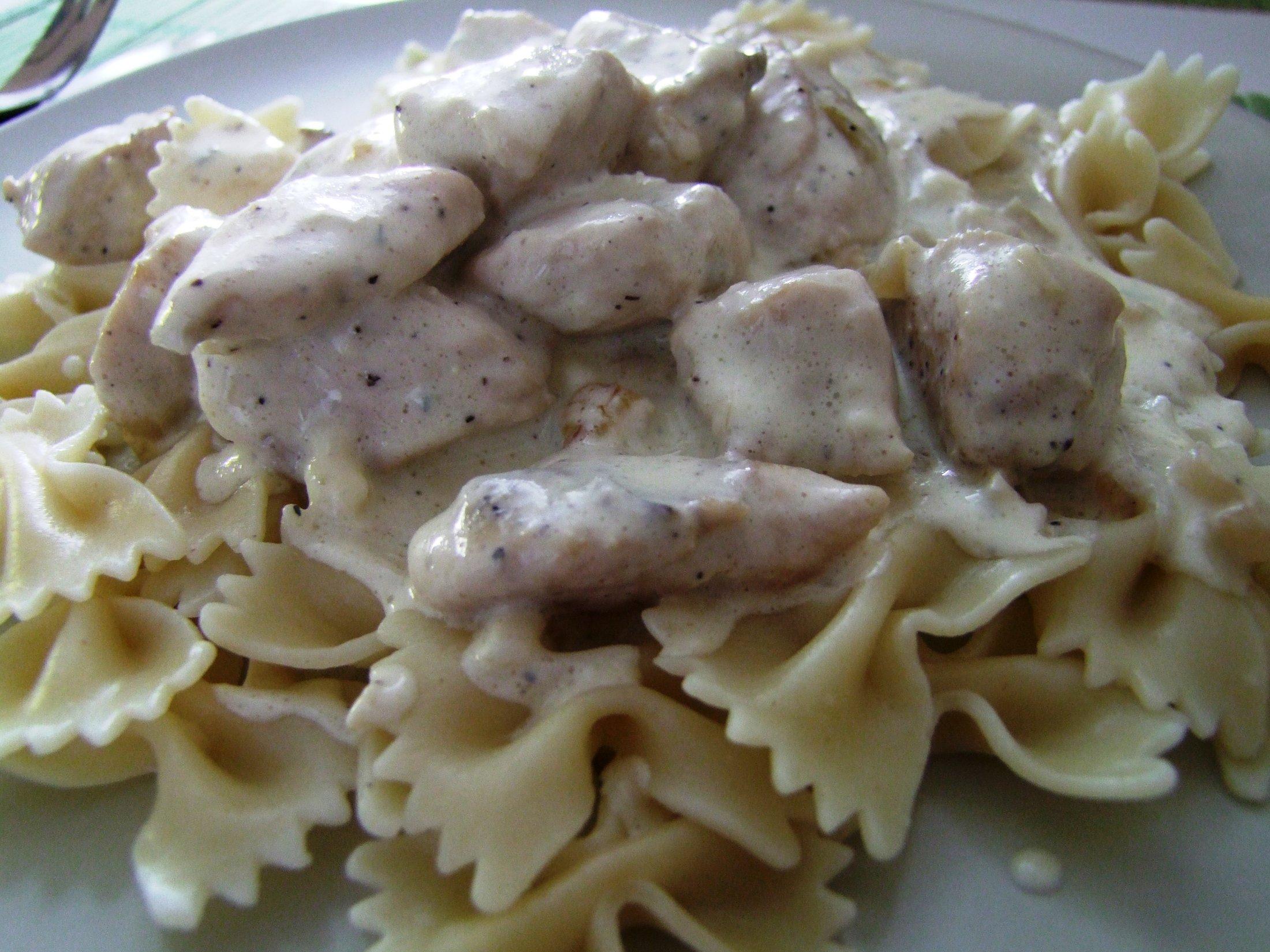 Recept Sýrová omáčka s kuřecím masem - Sýrová omáčka s kuřecím masem.
