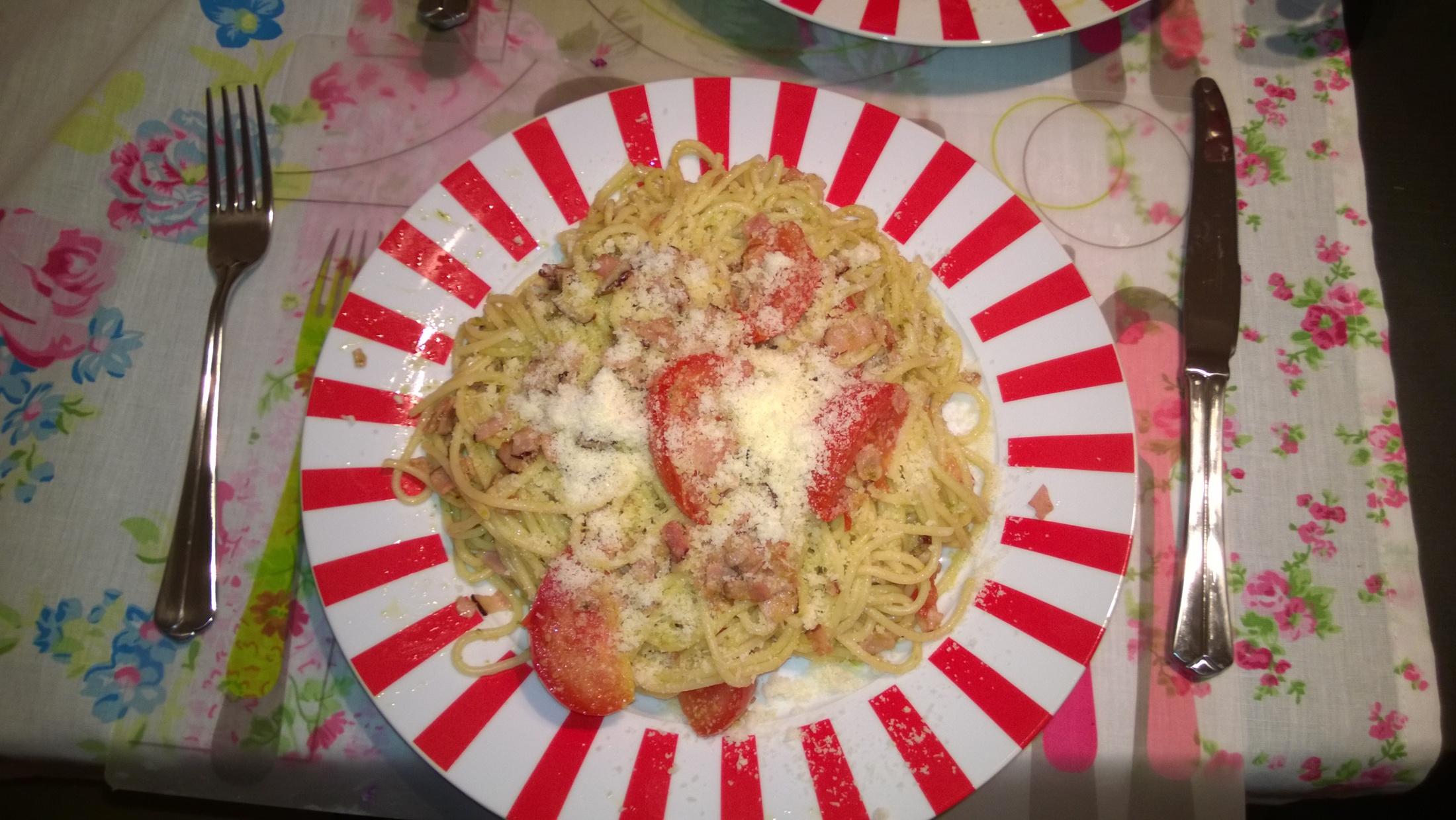 Italské špagety ala pesto