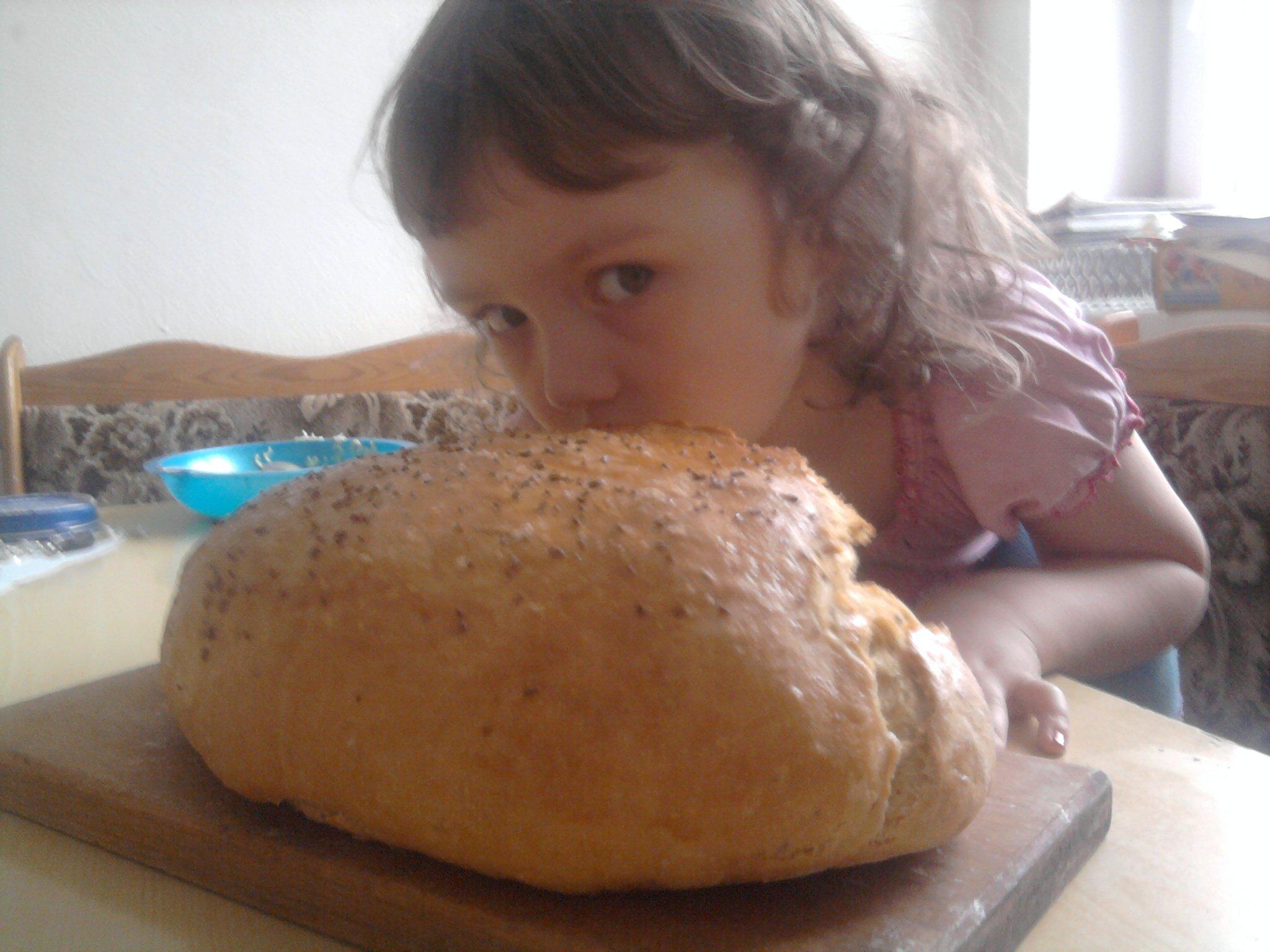 Recept Domácí chleba - akorát vytažený z trouby, dcerka si musela přivonět :)