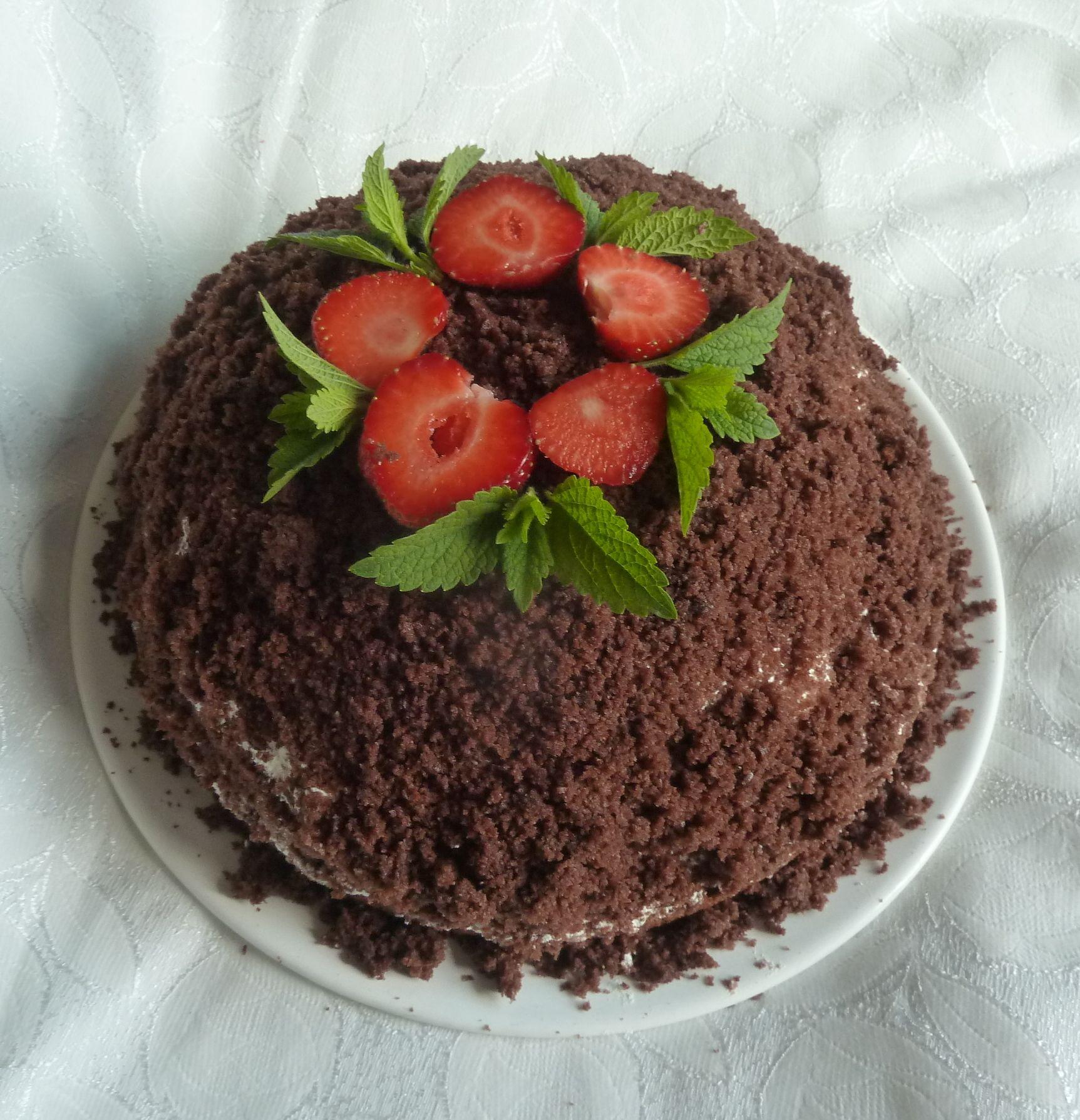 Recept Domácí krtkův dort - Výborný recept. Dort je podle něho upečený.