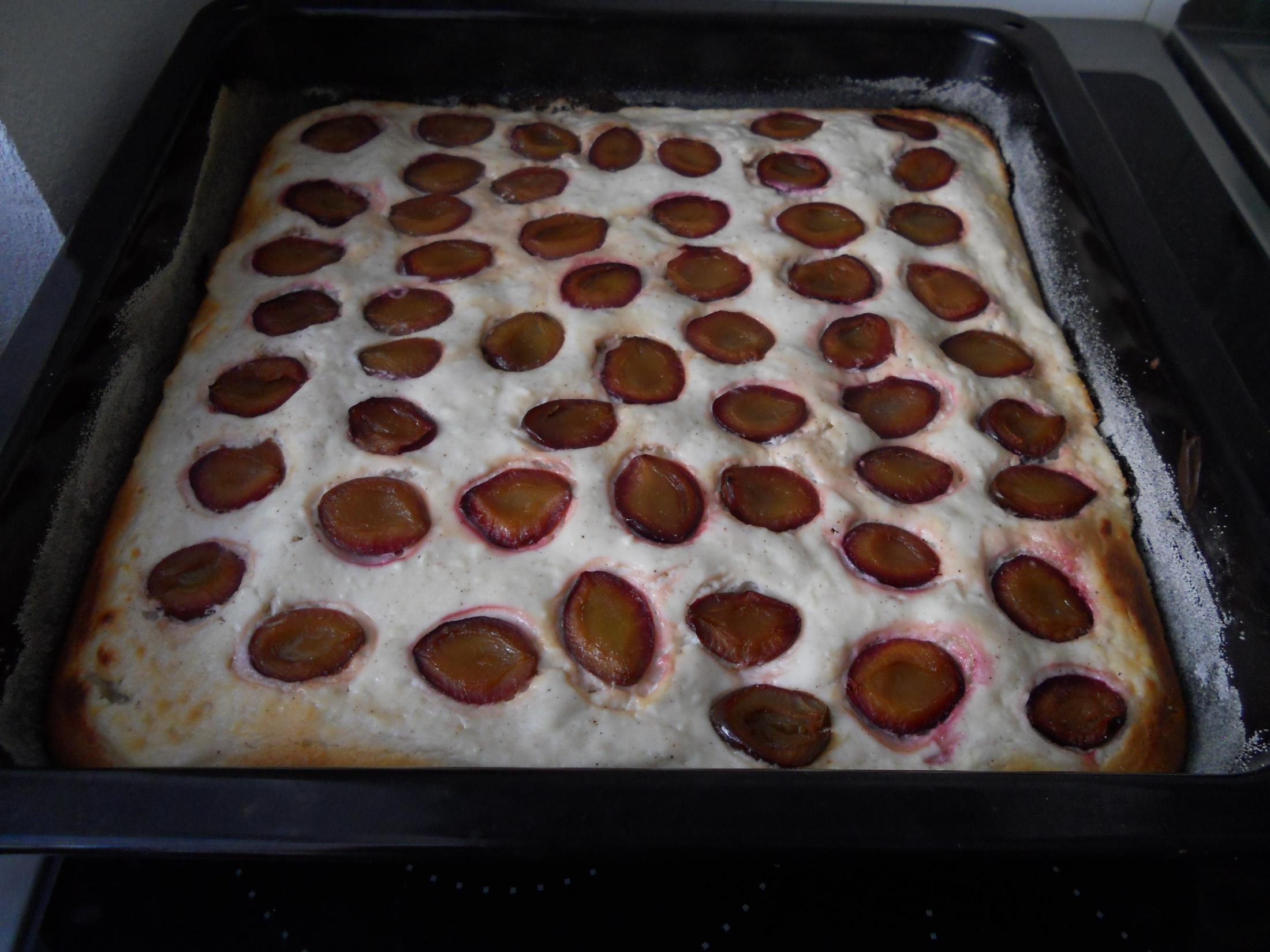 Recept Rychlý koláč s tvarohem a jahodami - Rychlý koláč s tvarohem a jahodami - varianta se švestkami - dobrota.