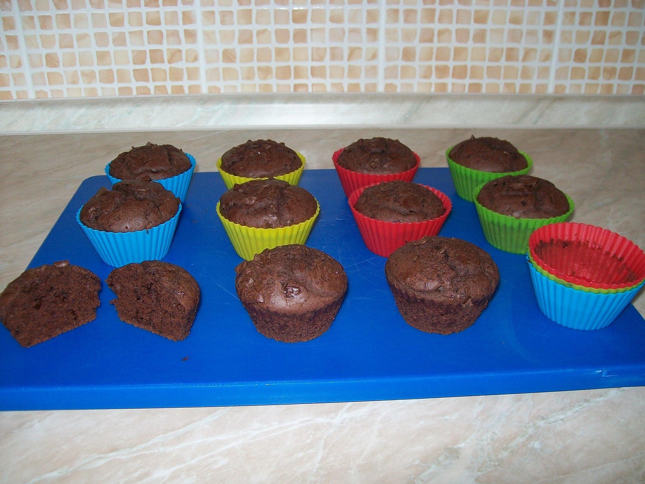 Recept Domácí čokoládové muffiny - Před konzumací :) Podařily se báječně.