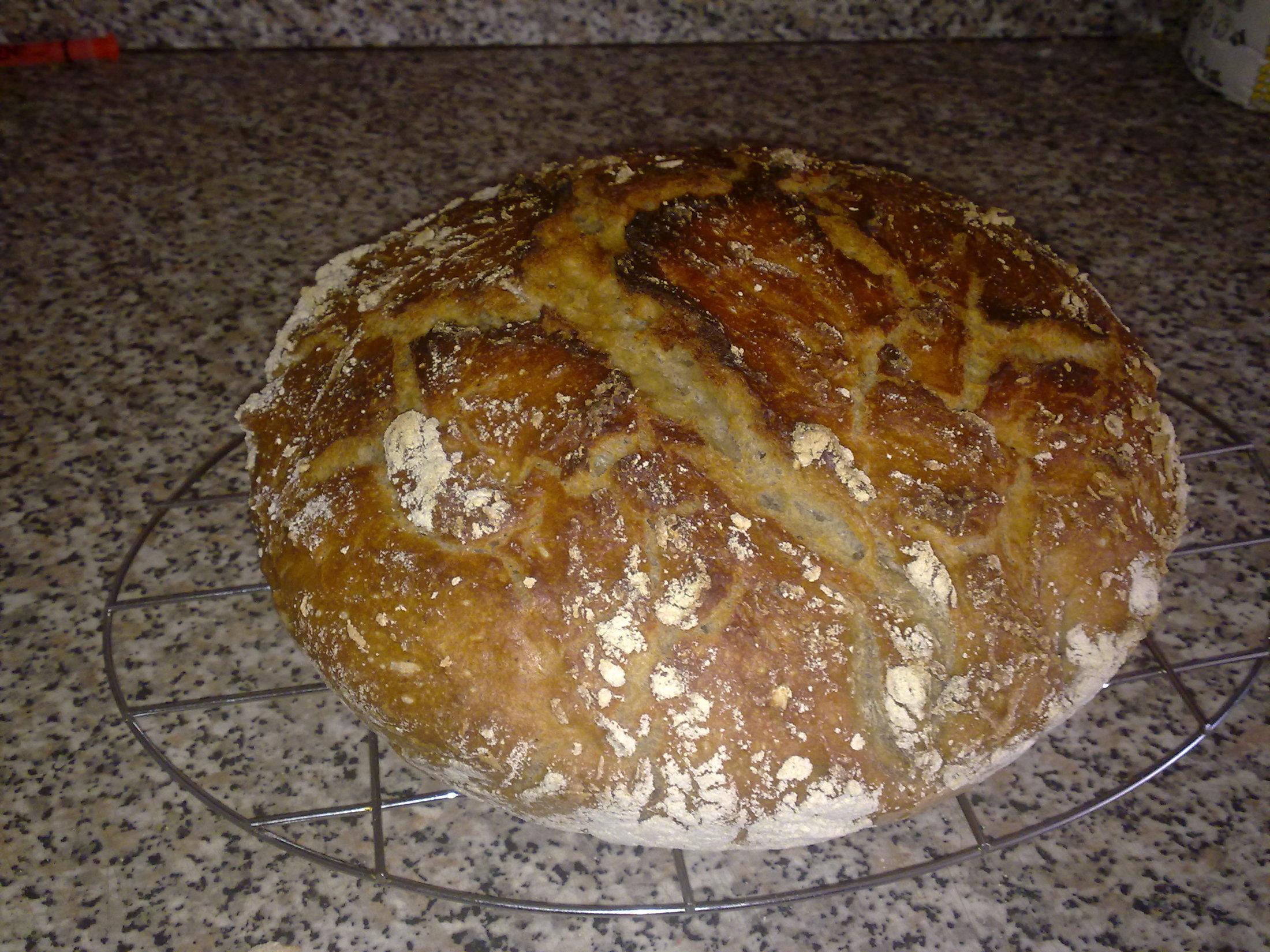 Recept Domácí chleba bez hnětení - Hotovo - chléb je nádherný. Už se těším na ochutnávku.