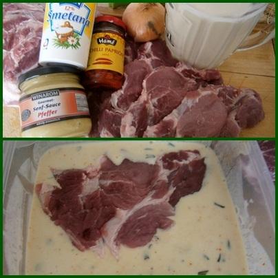 Recept Krkovička v kefíru z papiňáku - část použitých surovin + maso v marinádě, nejlépe přes noc uleželé