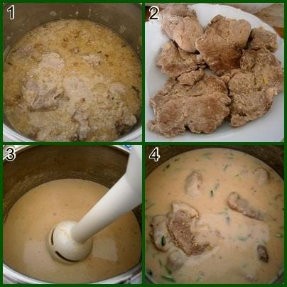 Recept Krkovička v kefíru z papiňáku - 1.po 15minutách hrnec otevřeme 2.maso vytáhneme 3.omáčku rozmixujeme 4.přilijeme smetanu,provaříme a maso dáme prohřát