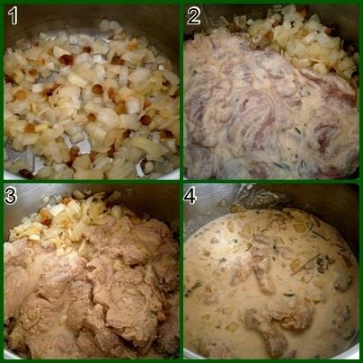 Recept Krkovička v kefíru z papiňáku - 1.osmahneme slaninu a cibuli 2.přidáme maso a necháme zatáhnout 3.přidáme všechnu marinádu 4.pod tlakem dusíme 15minut