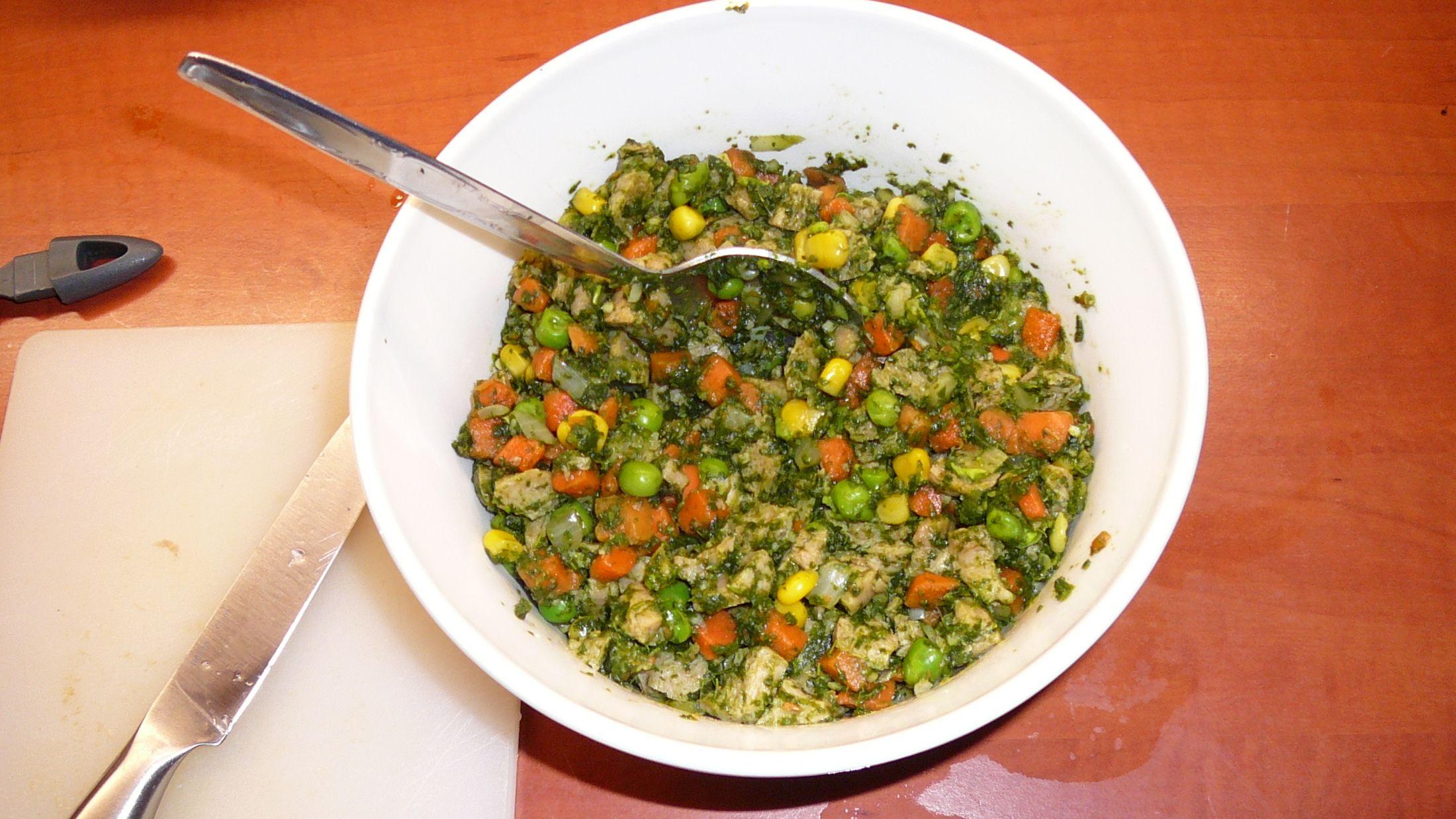 Recept Zeleninové placky se špenátem a sójovým masem - těsto