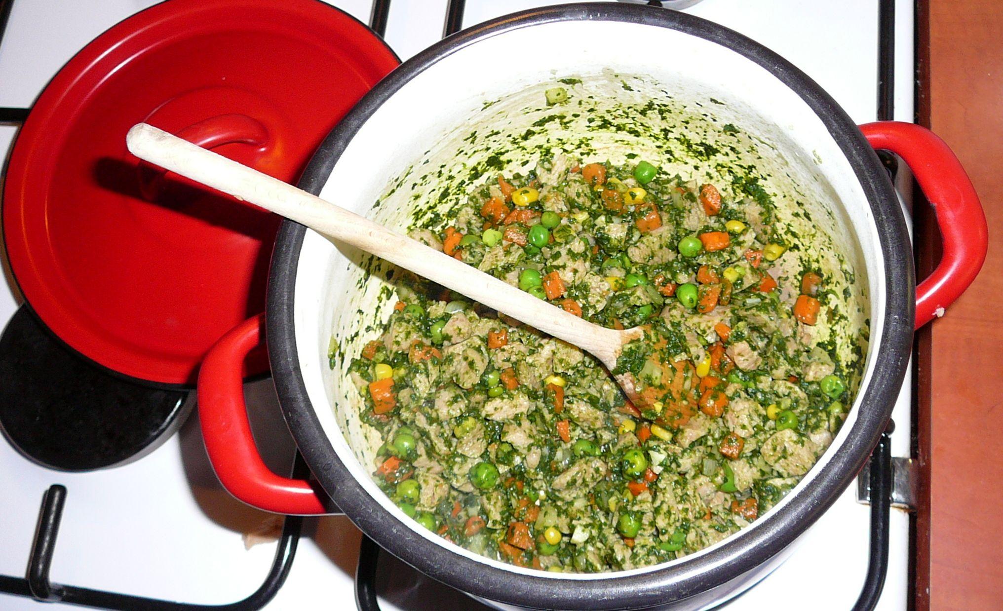 Recept Zeleninové placky se špenátem a sójovým masem - směs v kastrolu