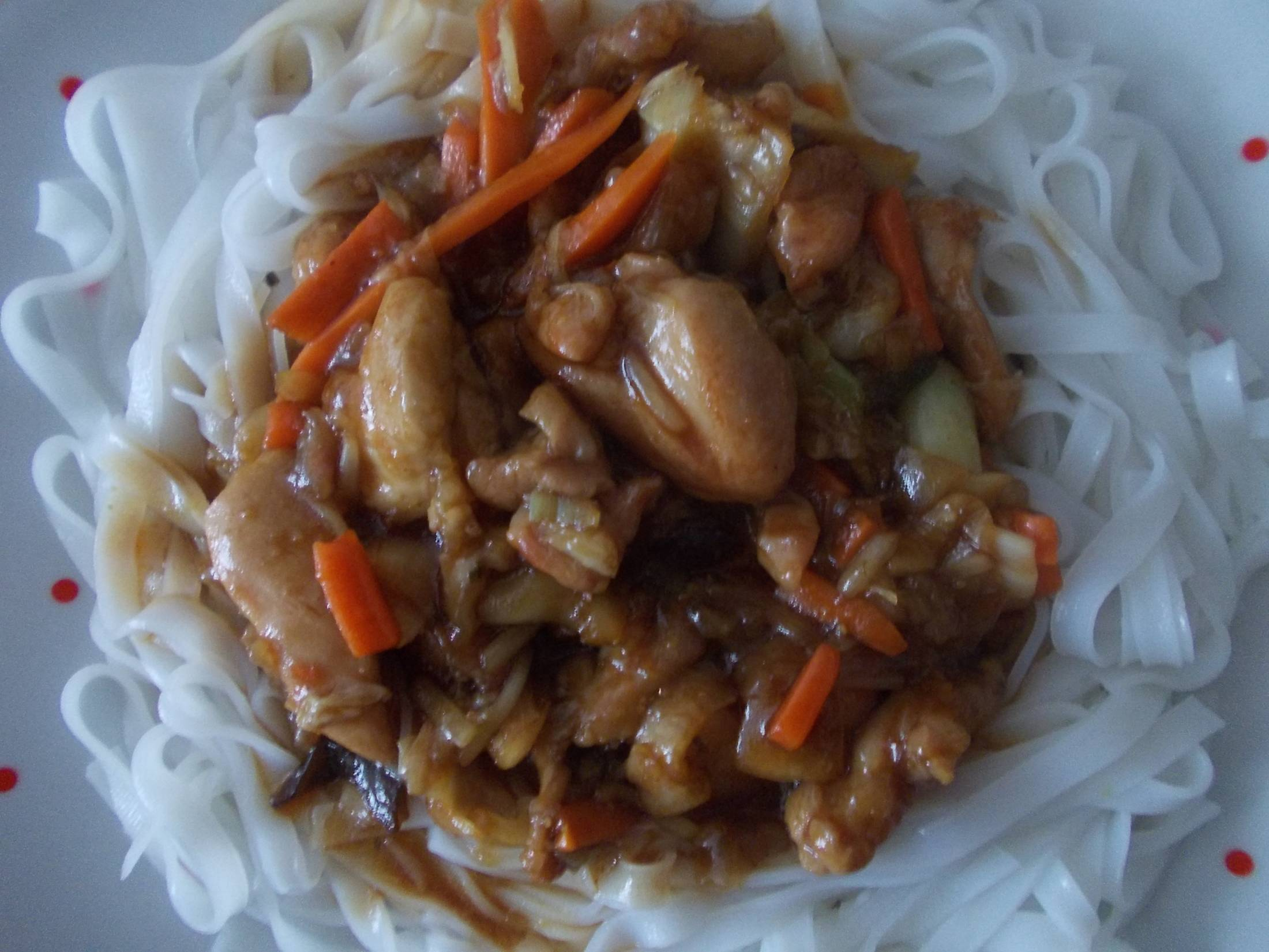 Kuřecí maso s nudlemi na čínský způsob