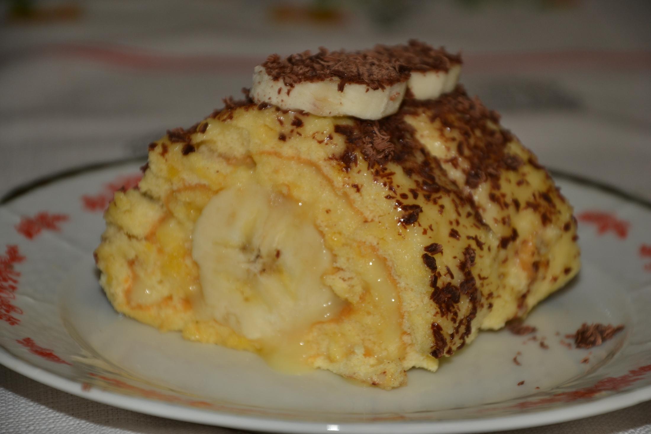 Banánová roláda s čokoládou