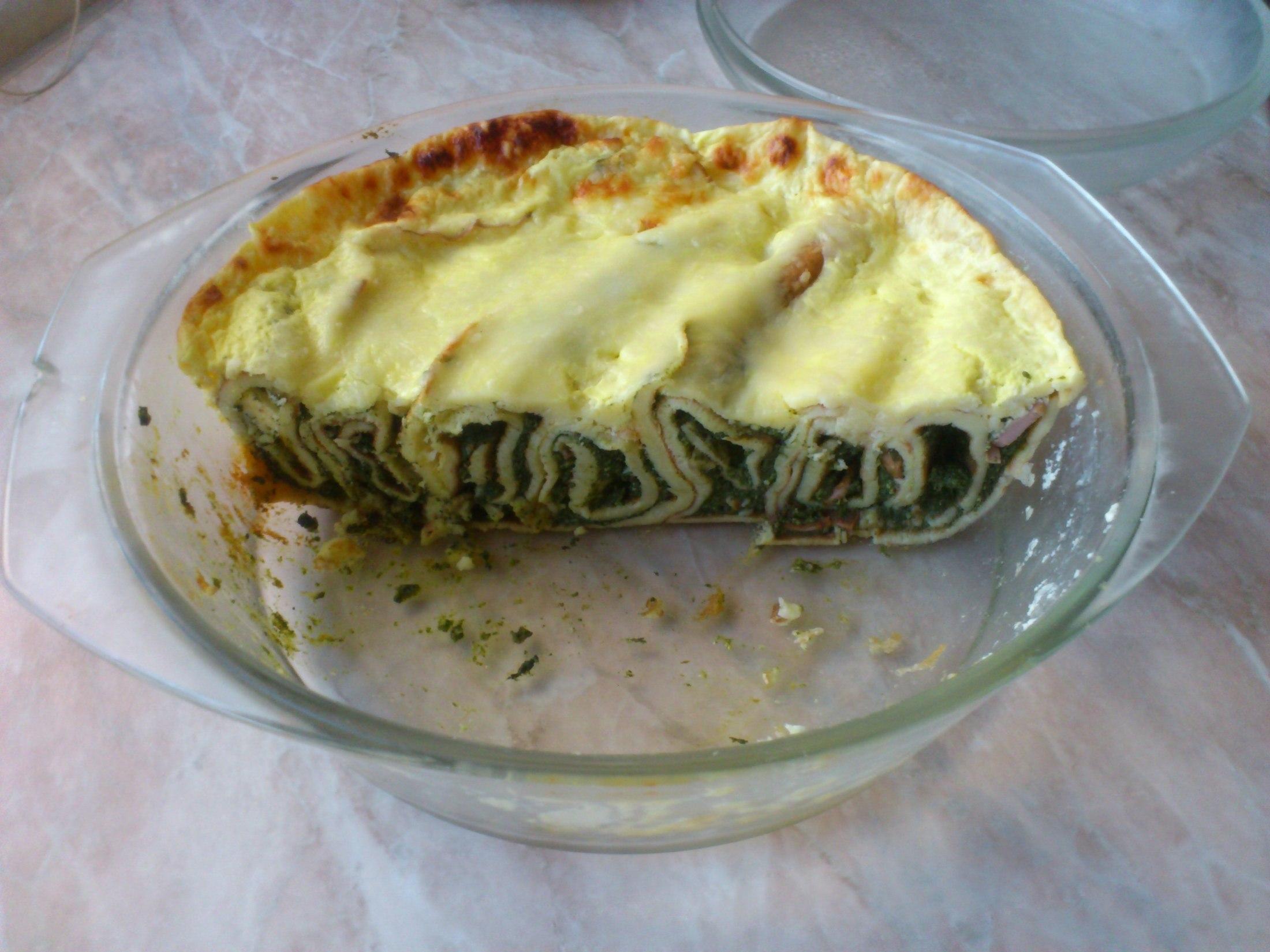 Fotografie receptu: Zapékané palačinky se špenátem