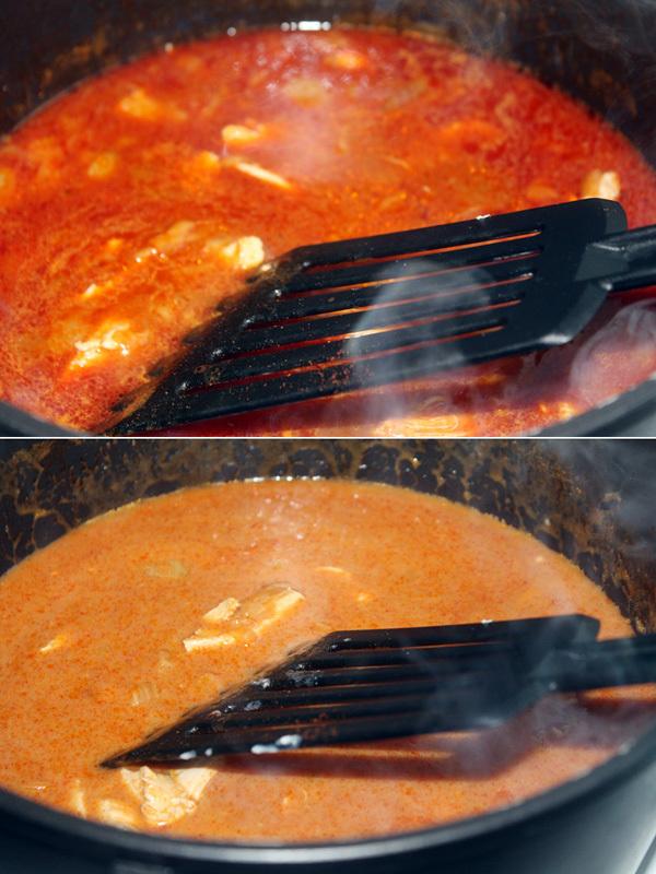 Recept Naše kuře na paprice - před a po mlíce s moukou kterým jsem nahradila smetanu