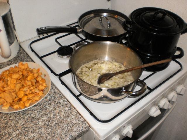 Recept Dušené lišky na paprice - A už se smaží.
