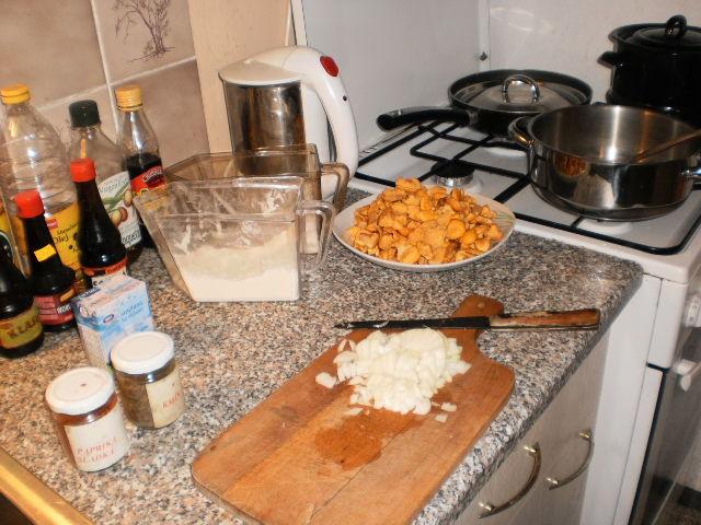 Recept Dušené lišky na paprice - Cibule je nadrobno.