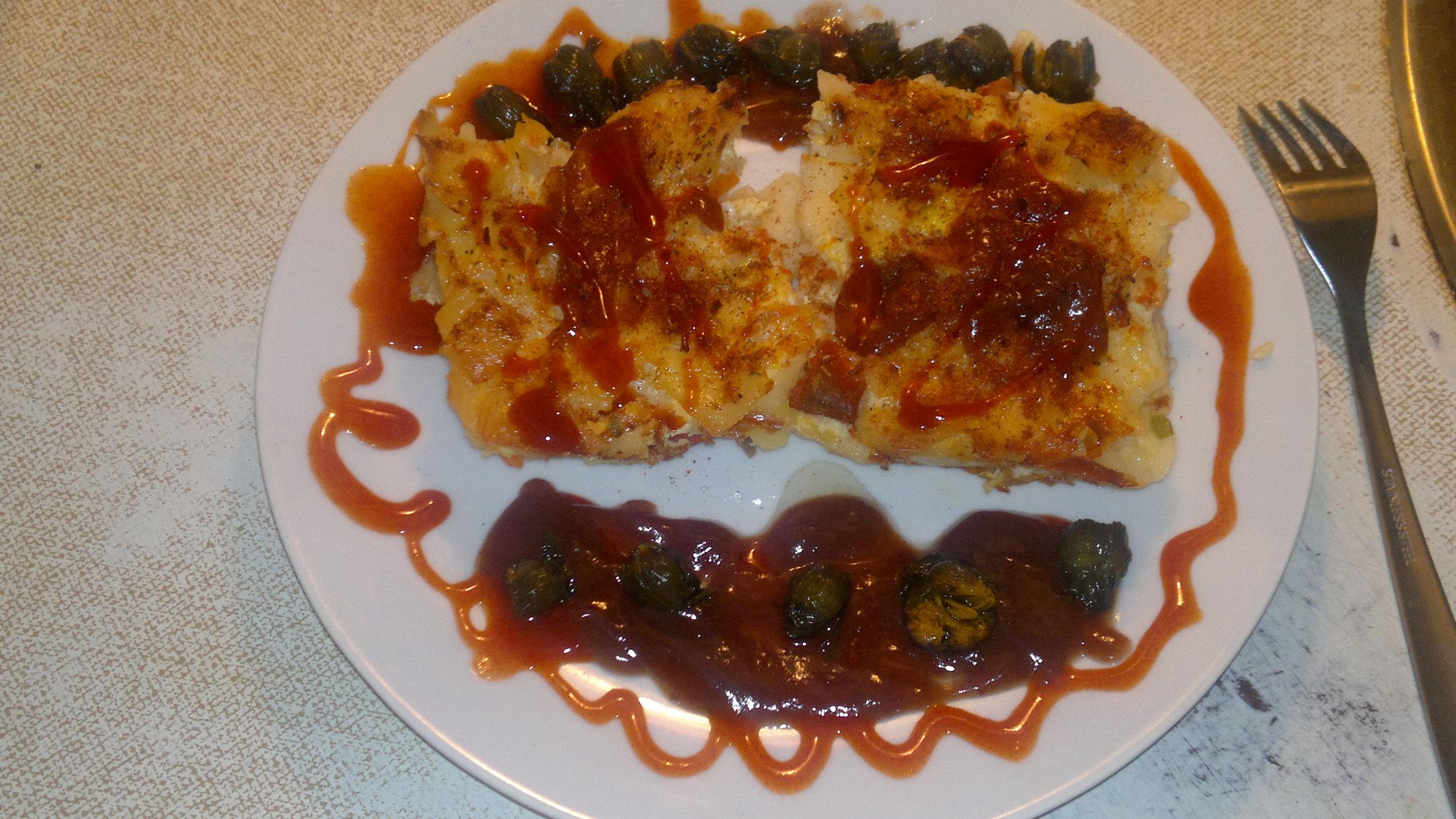 Recept Šunkofleky - Šunkofleky porcička, domácí chilli omajda, švestková omajda a pampeliškové kapari... dobrou chuť přeji....