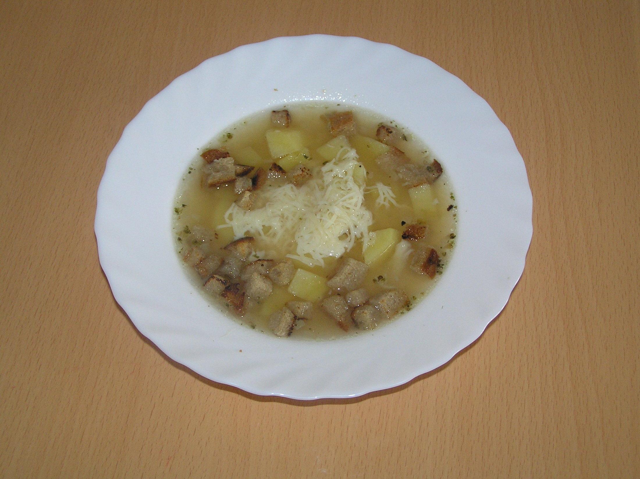 Recept Česnečka se sýrem - Česnečka s brambory, sýrem a krutony.