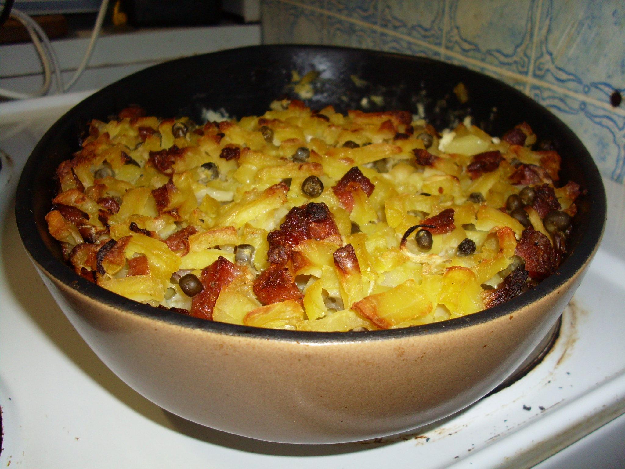 Zapečené šťouchané brambory