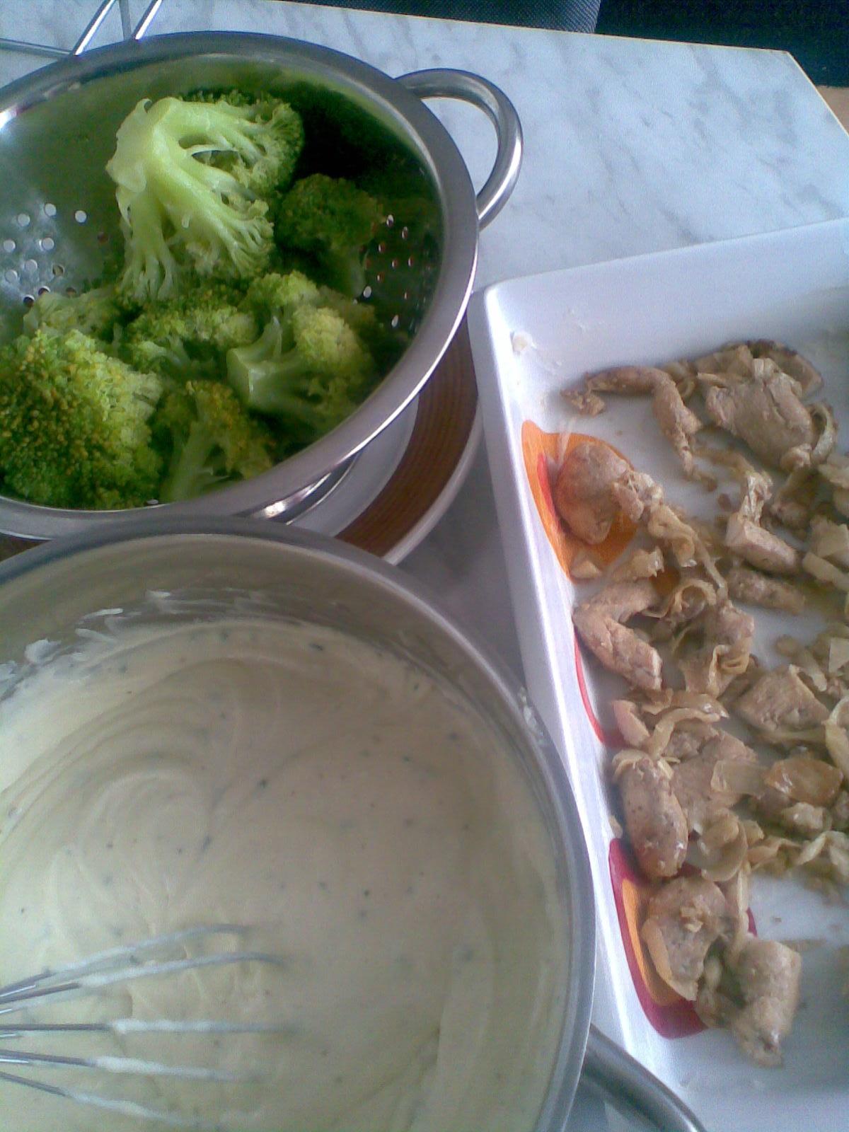 Recept Brokolice s těstovinami - dala jsem na dno misky kuřecí maso,orestované