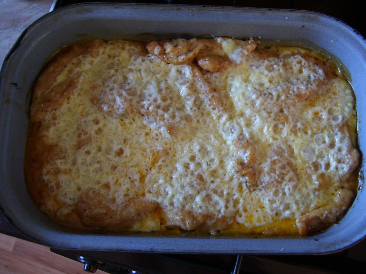 Recept Zapečená kuřecí prsa - Prsa se zapečeným sýrem.