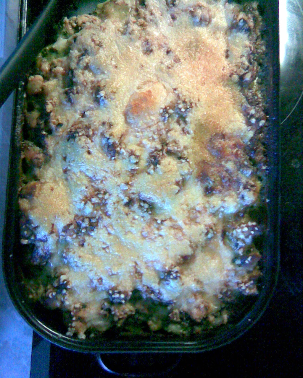 Recept Zapečené těstoviny s kuřecím masem a špenátem - Zapečené těstoviny s kuřecím masem a špenátem.