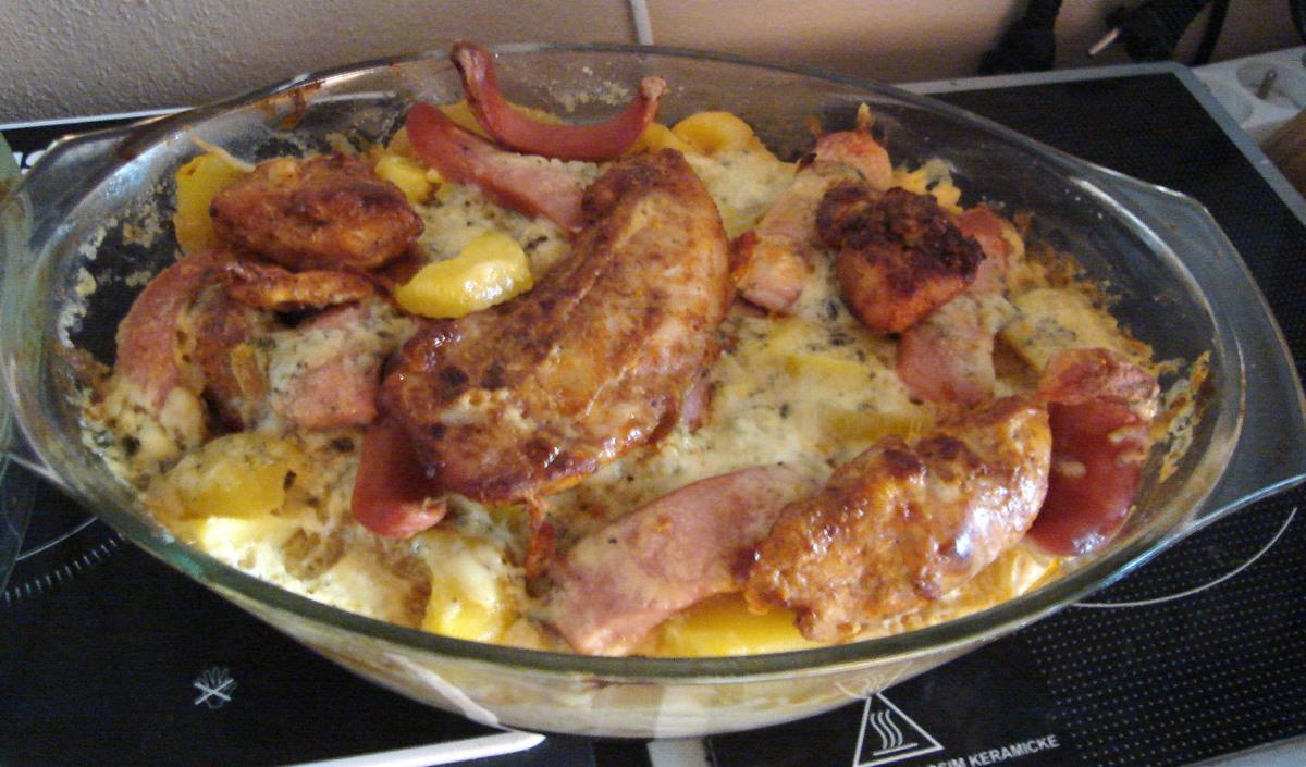 Recept Zapečené kuřecí maso s nivou a smetanou - zapečené kuřecí maso s nivou a smetanou