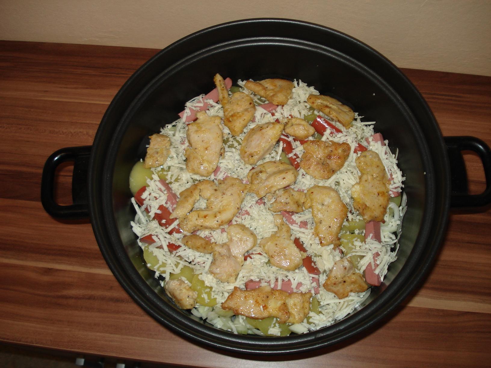 Recept Zapečené kuřecí maso s nivou a smetanou - prokládání