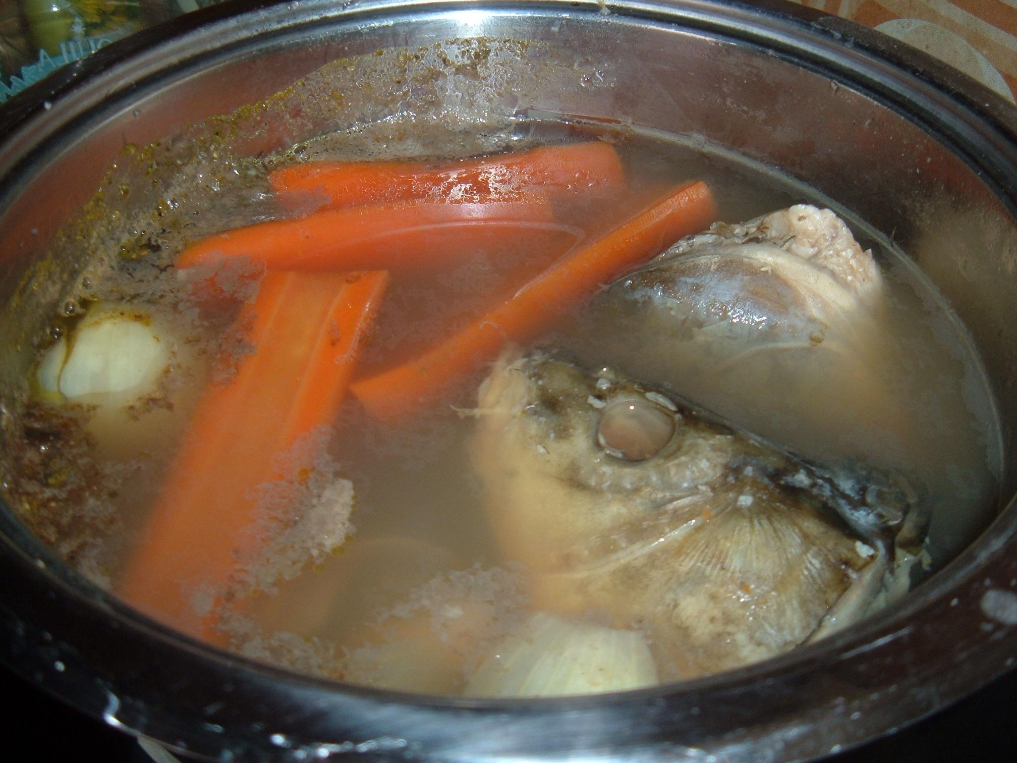 Recept Vánoční rybí polévka - Uvařené rybí hlavy se zeleninou.