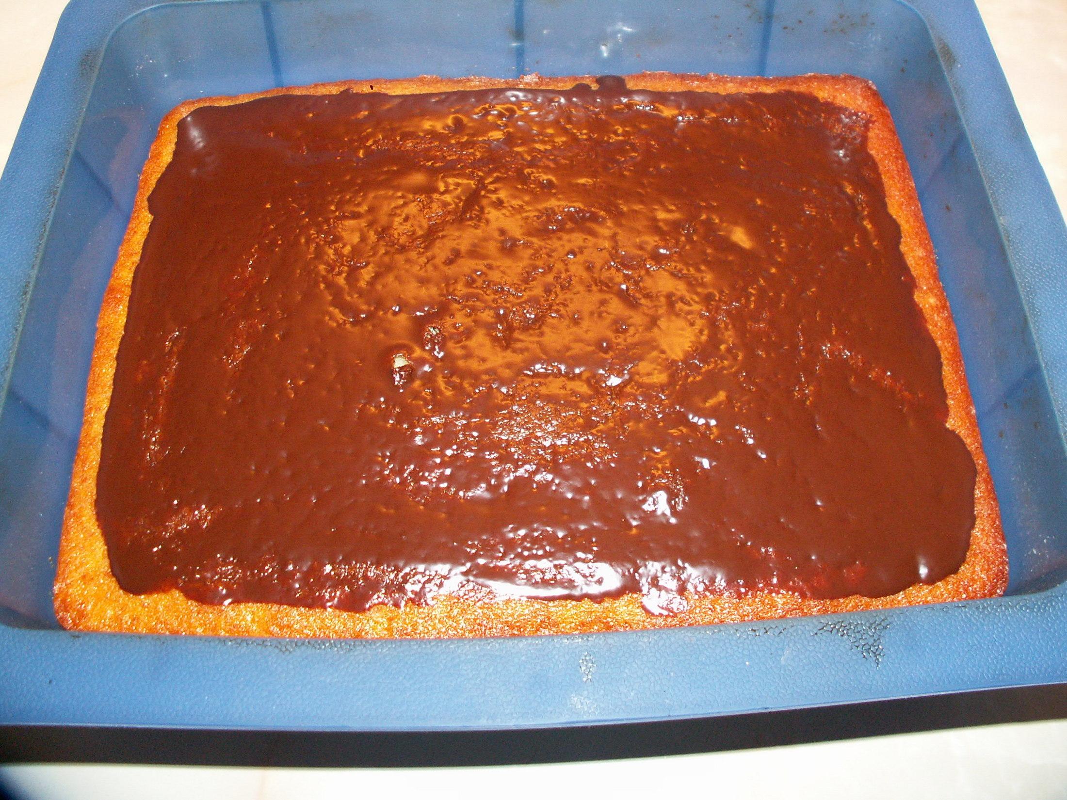 Recept Babiččina tvarohová bábovka - Vrch jsem polila čokoládovou polevou.