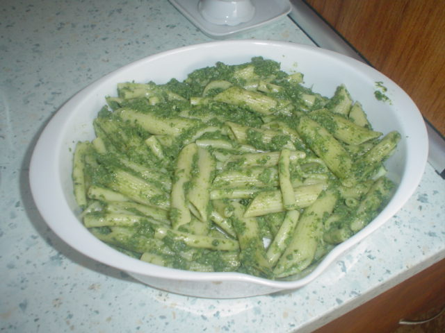 Zapečené špenátové těstoviny