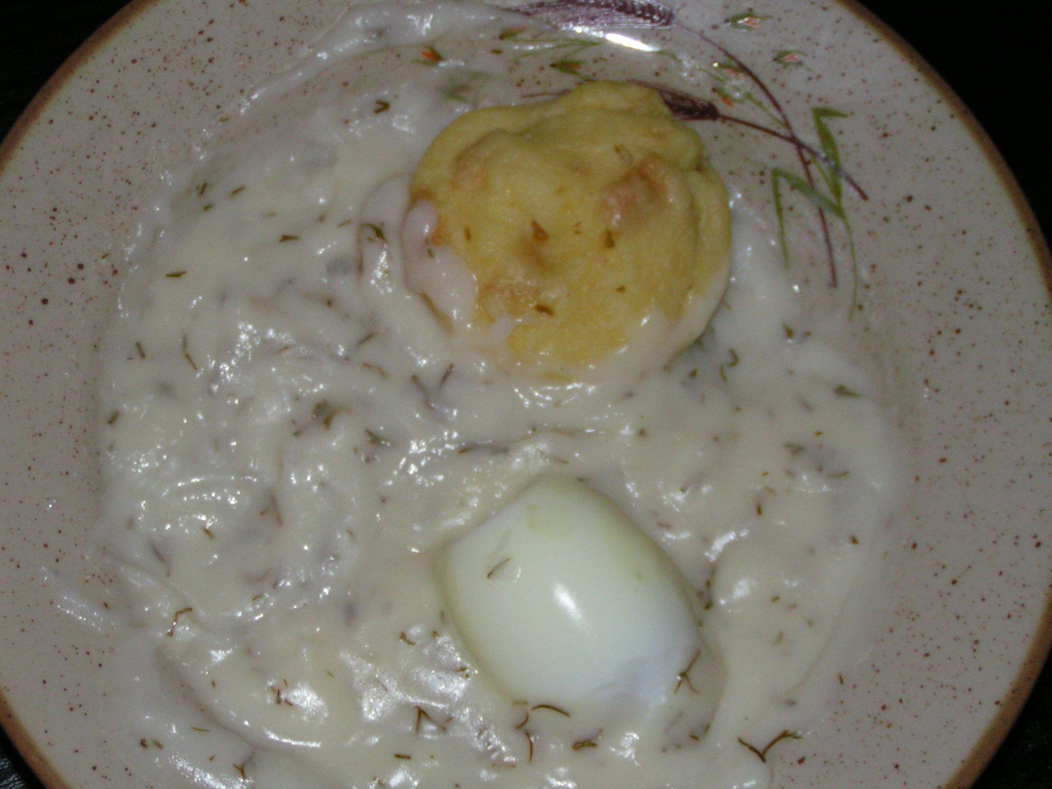 Recept Dědova koprová omáčka - Koprovou omáčku jsem podávala s hrnečkovým knedlíkem a vařeným vajíčkem.