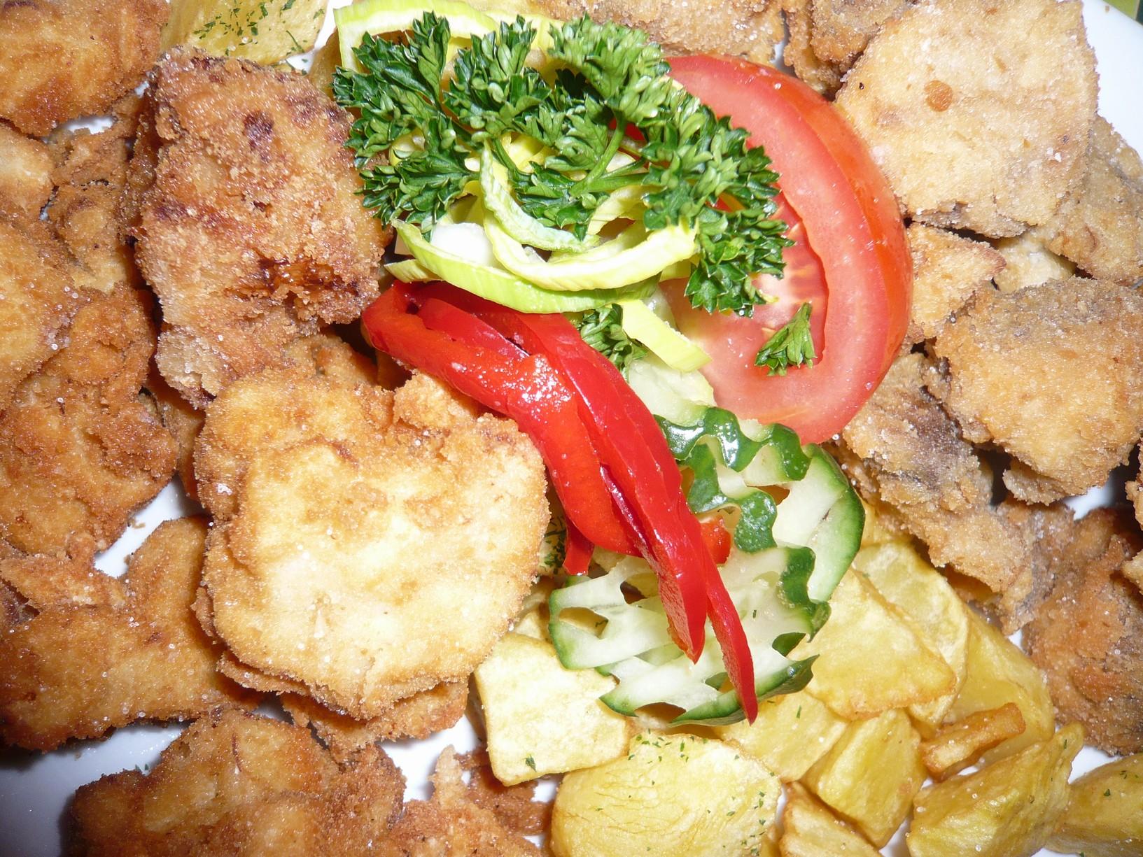 Recept Smažený květák - Smažený květák a žampiony a zeleninou.
